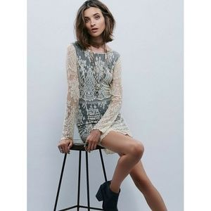 New Free People Lacey Bodycon BEIGE/BLACK
